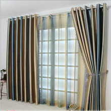Modern style striped decorative shade curtain / yarn curtains European-style living room bedroom curtains made