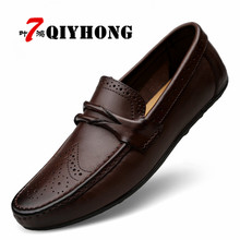 Buy QIYHONG Big Size High Genuine Leather Men Flats Slip Soft Leather Men Shoes Comfortable Male Casual Shoes Moccasins for $48.62 in AliExpress store