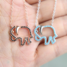 100% 925 sterling silver cute simple necklace elephant charm drop cz pendan necklace for women lady baby(China)