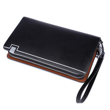 Dollar Price 2015 New Brand Men Standard Wallets 100% Genuine Leather Long Zipper Wallet Male Clutch Handy Bags Purses Handbags(China)