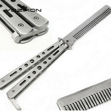Pro Salon Stainless Steel Folding Practice Training Butterfly Balisong Style Knife Comb Styling Tools Black/Silver Cool P012