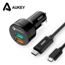 AUKEY Quick Charge 2.0 Car Charger USB Mobile Phone Charger for Car Fast Car-Charger With Type C & Micro USB Cable for Xiaomi LG
