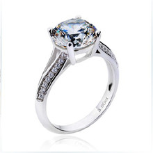 THREEMAN Positive Solid 18 Karat White Gold Synthetic Diamonds Moissanite 3CT Engagement Ring AU750 Women Jewellery Prongs Ring