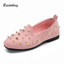 Fashion Rivets Kids Shoes Girl Dance Loafers Girls Moccasin Shoes Spring Summer Autumn Children Soft Casual Flat Princess Shoes(China)