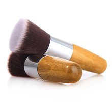 Round Flat Top Bamboo Handle Foundation Powder Brush Cosmetic Makeup Beauty Tool