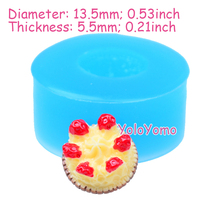 G225YL 13.5mm Mini Strawberry Cake Flexible Silicone Mold - Dessert Mold Cake Topper Fondant, Charms Resin Clay, Oven Safe Mold