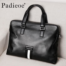 "Padieoe Male Briefcase Genuine Leather Office Documen'ts Messenger Bag Famous Brand Portfolio Man Leather Bag for 15"" Laptop(China)"