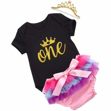 Cotton Worsted Toddler Baby Short Summer Baby Girl Clothes 3PCS Baby's Sets;Happy Birthday Party Golden Crown One T-shirt Suit(China)