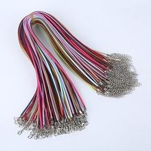 Suede cord 27mm 30pcs/lot Mix colour Korean Velvet Cord Necklace Rope:45cm+Chain: 5cm with Lobster Clasp DIY Jewelry Accessories
