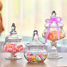 European transparent Glass bottles candy jar dust-proof with lid home Decor Crafts bottle dessert stand storage tank small vials