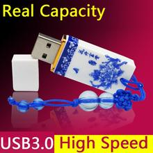 High Speed Pendrive 3.0 Fashion Ceramic Usb Flash Drive Drives Gift Pen Drive 64GB 32GB 16GB 8GB Real Capacity+ 1year Warranty(China)