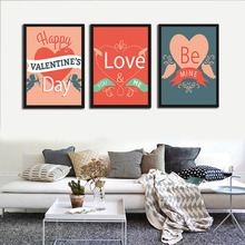 Sweet Heart Happ Valentine's Day Quote Canvas Art Print Poster Love You Be Mine Romantic Bedroom Painting Picture Home Decor