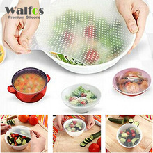 WALFOS food grade Keeping Food Fresh Saran Wrap Reusable super stick Silicone Food Wraps Seal Vacuum Cover Stretch Lid