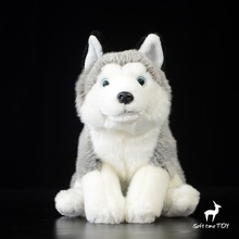End of a single husky dog doll artificial animal dog plush toy Lovely Crouch position Simulated animal Dog gift