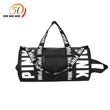 VS fashion girl stripe duffle bag colorful VS Zipper Shoulder Versatile Sack Summer Holiday Beach letter bag Shopping bag(China)