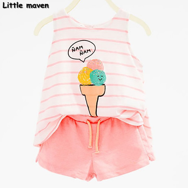Little maven brand children clothing 2017 new summer baby girl clothes Ice cream print children's sets 20070(China)
