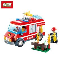 GUDI Fire Rescue Building Blocks Truck Vehicle Model Fireman Figures Toys DIY Assembly Bricks Educational Gifts For Children(China)