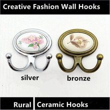 Personality Creative fashion Retro wall decoarion hooks Rural ceramic clothes hooks Top quality beathroom two hook silver bronze(China)