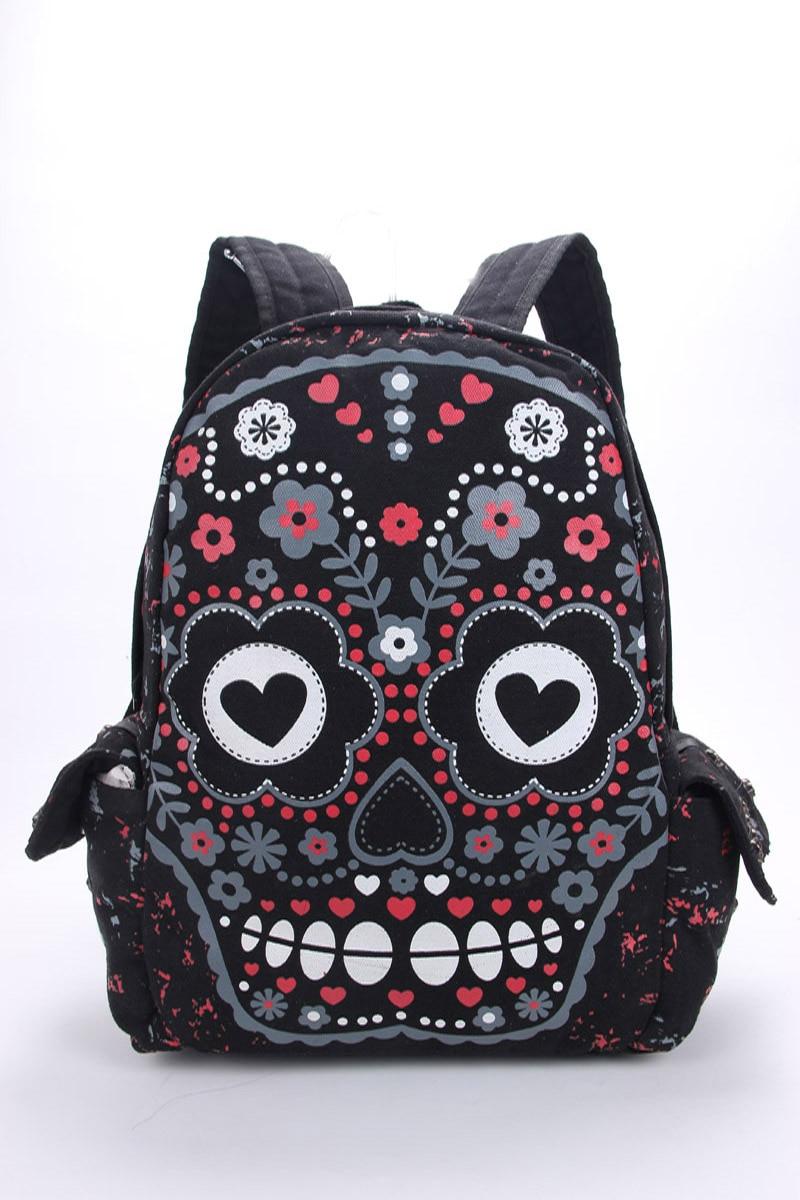 Men Women Unisex Sugar Flower Printed Skull Gothic Emo Punk Backpack Rucksack School Bag Pink Waterproof Mochila<br>