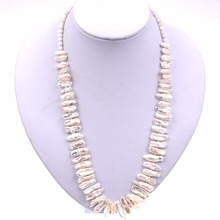 Natural Freshwater white keshi pearl & White shell beads strand necklace(China)
