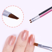 1Pc Powder Dust Clean Up Drawing Brush Flat Cuticle Cleaning Pen Wood Handle Painting Brush Acrylic Nail Art Tool 4 Colors(China)