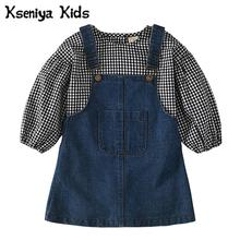 Kseniya Kids 2017 New Baby Children's Plaid Blouse And Denim Straps Skirt Girls Clothes 2 Piece Set Girl Clothing Sets Clothing