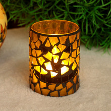 Pumpkin color smile face pattern Mosaic Glass Flameless Led Candle with Timer,work with 2 AA battery ,3*4 Inch(China)