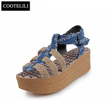 COOTELILI 35-39 Fashion Summer Ladies Sandals Cowboy Hemp Rope Wedges Sandals Gladiators Mixed Colors Buckle Shoes for Women(China)