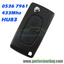 2button CE0536 HU83 Groove 433Mhz ID46 7961 Chip car remote control auto flip remote key for Peugeot 207 307 307S 407 607