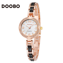 DOOBO 2017 Brand Women Watches Alloy Crystal Wristwatches Women Dress Watches Gift Women Gold Fashion Luxury Quartz Watch(China)