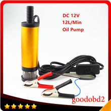 Vehicle DC12V Oil Pump 38MM Electric Water Oil Car Camping Submersible Diesel Transfer Pump Fuel Oil Aluminium Alloy Belt 12L/Mi