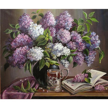 5D DIY Diamond Painting Flowers Crystal Diamond embroidery Cross Stitch purple lavender Vase Needlework Home Decor KL191
