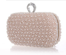 2014 Promotion Solid Bag Mini(<20cm) Interior Slot Pocket Hasp Women Hot Selling Pearl with Diamond Finger Cluth Evening Bag