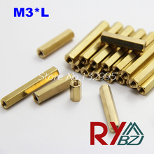100pcs/lot M3*L (4mm~40mm) Brass Standoff Spacer Female Female M3*L Brass Threaded Spacer hex spacer/BSSFFNNP M3(China)