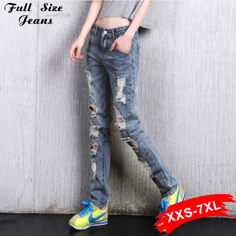 Boyfriend Ripped Denim Jeans For Women Distressed Jeans Plus Size Female Casual Dstoryed Pants Retro Big Hole Vintage Xxxl 6XlОдежда и ак�е��уары<br><br><br>Aliexpress