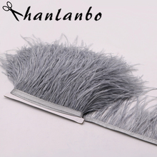 3meter/lot sliver gray Ostrich Feather  tirms  Height 10-15CM Ostrich Feather Trimming For Dance Dress clothing Making