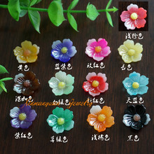 (10 pieces/lot) 15mm flatback resin flower cabochons cameo diy accessary for jewelry rx004