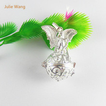 Julie Wang 1PCS Silver Color Copper Hollow Angel  Locket Fashion Girl Necklace Suspension Pendant Perfume Festival Chain 51519