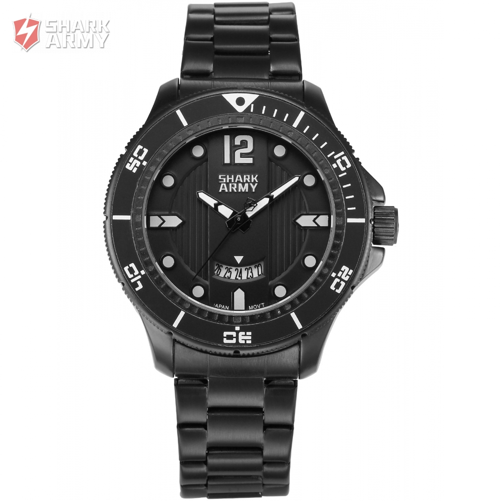 SHARK ARMY Sport Watch Full Black Steel Band Date Display 3 ATM Waterproof Quartz Military Mens Brand Military Watches / SAW214<br>