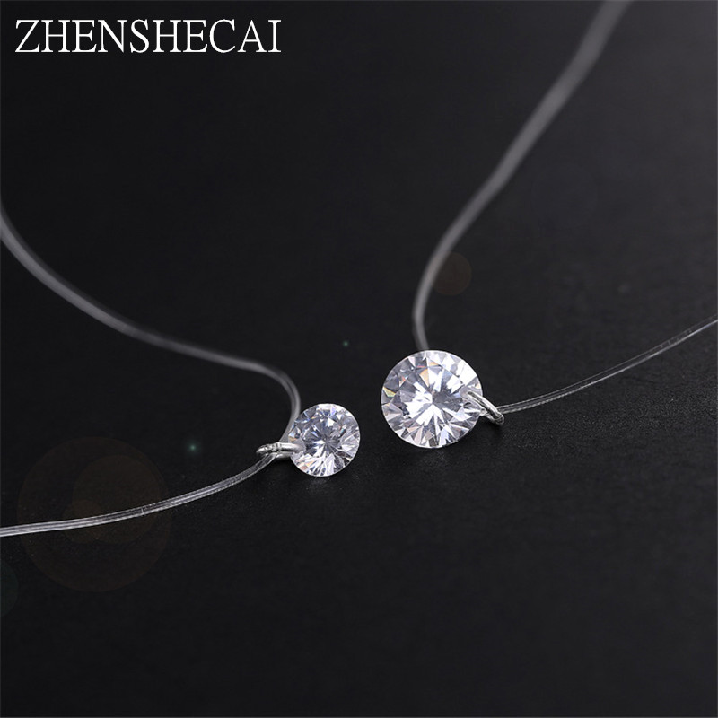 Shine Zircon Necklace Invisible Transparent Fishing Line Short Chain Pendant Neckalace Women Fashion Jewelry Gift hot x252
