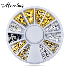 Gold Silver Nail Art Decoration Wheel Set Various Designs Metal Nail Studs Rhinestones DIY Nail Craft Accessories