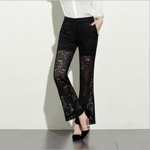 2018 Summer New Sexy Lace Crochet Pants Women's Black Loose Perspective Hollow Wide Leg Pant Flare Trousers Leggings Big S()