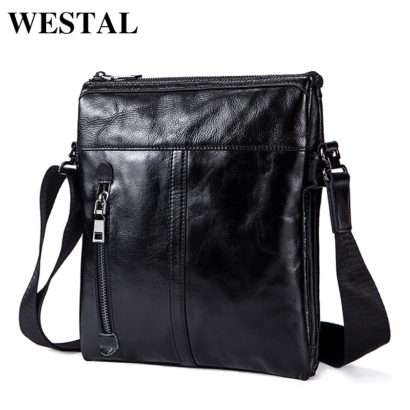 Westal Crossbody Men Messenger Bag Genuine Leather Crossbody Bags for Men Vintage Shoulder Bags Zipper Small Solid Black Bags<br>