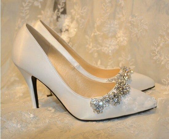 Handmade Satin Pointed Toe Pumps High Heel Wedding Shoe White Rhinestone Bridal Dress Shoes Spring Wedding Shoes Plus Size<br><br>Aliexpress