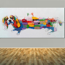 Hand Painted Cute Puppy Oil Painting On Canvas Thick Textured Palette Knife Art Dog Wall Picture For Home Decoration Wall Decor(China)