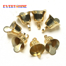50pcs/lot 10mm Gold Metal Trumpet Bells for Christmas Tree Hanging Ornaments Pendants Decor Wind Chime Accessories JK304(China)