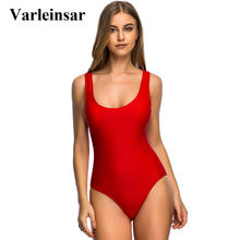 Varleinsar 2017 New White Red Scoop back Women Swimwear one piece swimsuit backless monokini female bathing suit swim wear V128R