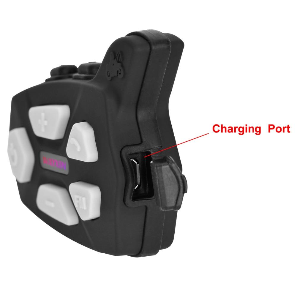 WAYXIN R5 1PCS Motorcycle Bluetooth Intercom Motorcycle Headset Intercom Built in FM Radio Motorcycle Helmet Moto Inerphone