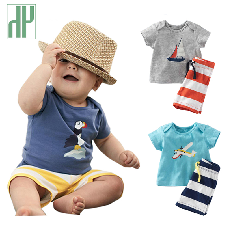 Kids clothes 2016 summer Fashion Boys Clothes Sets Short-Sleeve Cartoon T-Shirt+ Striped Pant children boys cotton Clothing Set(China)