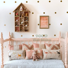 Gold polka Dots Wall Sticker Wall Decal, Removable home decoration art Wall Decor Free Shipping(China)